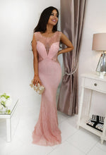 Pink Beaded Lace Maxi Dress