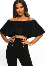 Evelyn Black Frill Bardot Crop Top