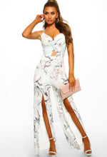 Grey Floral High Split Leg Jumpsuit - Front with Accessory