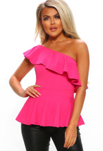 Pink One Shoulder Frill Peplum Top - Front View