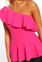 Pink One Shoulder Frill Peplum Top - Close up View