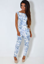 Everleigh Blue and White Floral Twin Pocket Jumpsuit