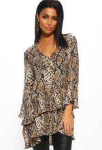Brown Snake Print Pleated Layered Smock Top - Front View