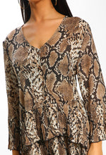 Brown Snake Print Pleated Layered Smock Top - close up View