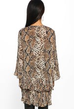 Brown Snake Print Pleated Layered Smock Top - Back View