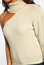 Exposed Stone One Shoulder Roll Neck Knitted Jumper