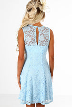 Express Yourself Powder Blue Glitter Lace Skater Dress