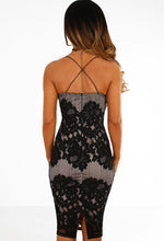 Fall For It Black And Nude Lace Midi Dress