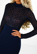 Fame and Fortune Navy Embroidered Long Sleeve Midi Dress
