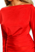 Famous Lifestyle Red Slinky Long Sleeve Ruched Midi Dress