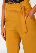Fancy N Formal Mustard High Waisted Belted Tailored Trousers