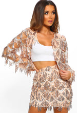 Shake It Rose Gold Sequin Tassel Jacket