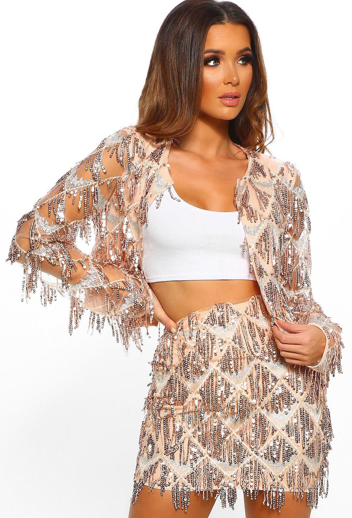 8100b8ab38df Shake It Rose Gold Sequin Tassel Jacket – Pink Boutique UK