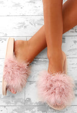 Fashion Crush Pink Feather Sliders