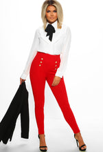 Red Button High Waisted Trousers
