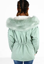 Faux Fur Dream Mint Fur Trim Hooded Parka
