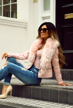 Faux Love Pink Fur Collar Leather Jacket
