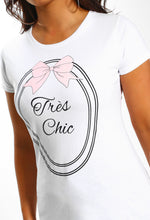 White Tres Chic Slogan T-Shirt - Close up View