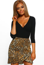 Feeling Fancy Brown Leopard Print Frill Wrap Front Mini Skirt