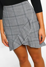 Feeling Fancy Grey Check Frill Wrap Front Mini Skirt