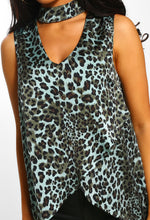 Feeling Feisty Blue Leopard Print Choker Dip Hem Top