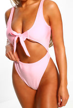 Pink Cut Out Tie Front Swimsuit - Close up view