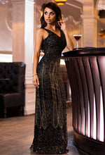 Limited Edition Felicia Black and Gold Glitter Maxi Dress