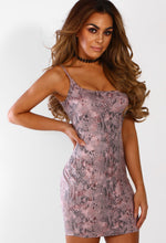 Pink Snake Print Bodycon Mini Dress - Front
