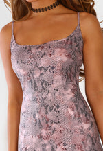 Pink Snake Print Bodycon Mini Dress - Closeup Detail