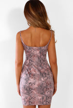 Pink Snake Print Bodycon Mini Dress - Back