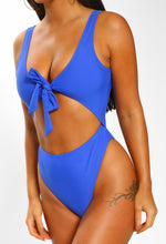 Cobalt Blue Cut Out Tie Front Swimsuit - close up view