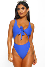 Cobalt Blue Cut Out Tie Front Swimsuit