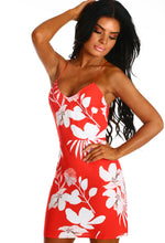 Fiji Fabulous Red and White Floral Mini Dress