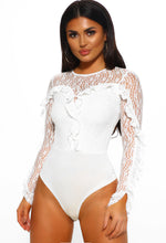 White Lace Frill Bodysuit