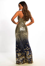 Navy and Gold Sequin Prom Dress