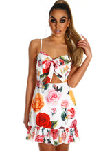 Floral Desire White Rose Print Cut Out Frill Mini Dress