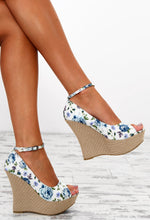 Floral Fancy Cream and Blue Floral Peep Toe Wedges