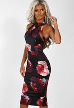Black Multi Floral Mesh Midi Dress - Front