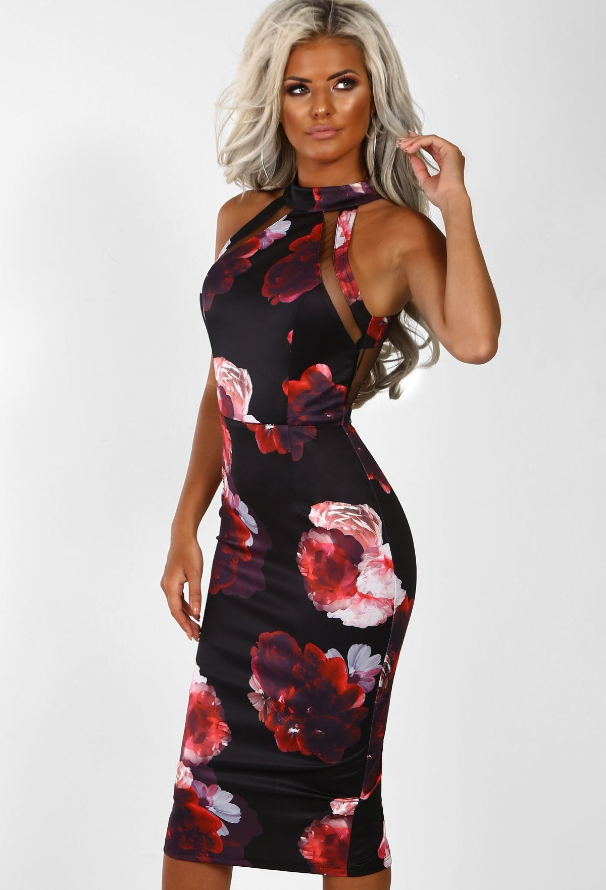 6f7da3e2d9b Floral Paradise Black Multi Floral Mesh Midi Dress – Pink Boutique UK