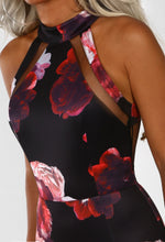 Black Multi Floral Mesh Midi Dress - Halterneck Detail Closeup