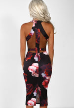 Black Multi Floral Mesh Midi Dress - Back