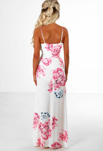 Sensational White and Pink Floral Maxi Dress