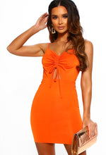 Orange Slinky Cut Out Ruched Mini Dress - Front