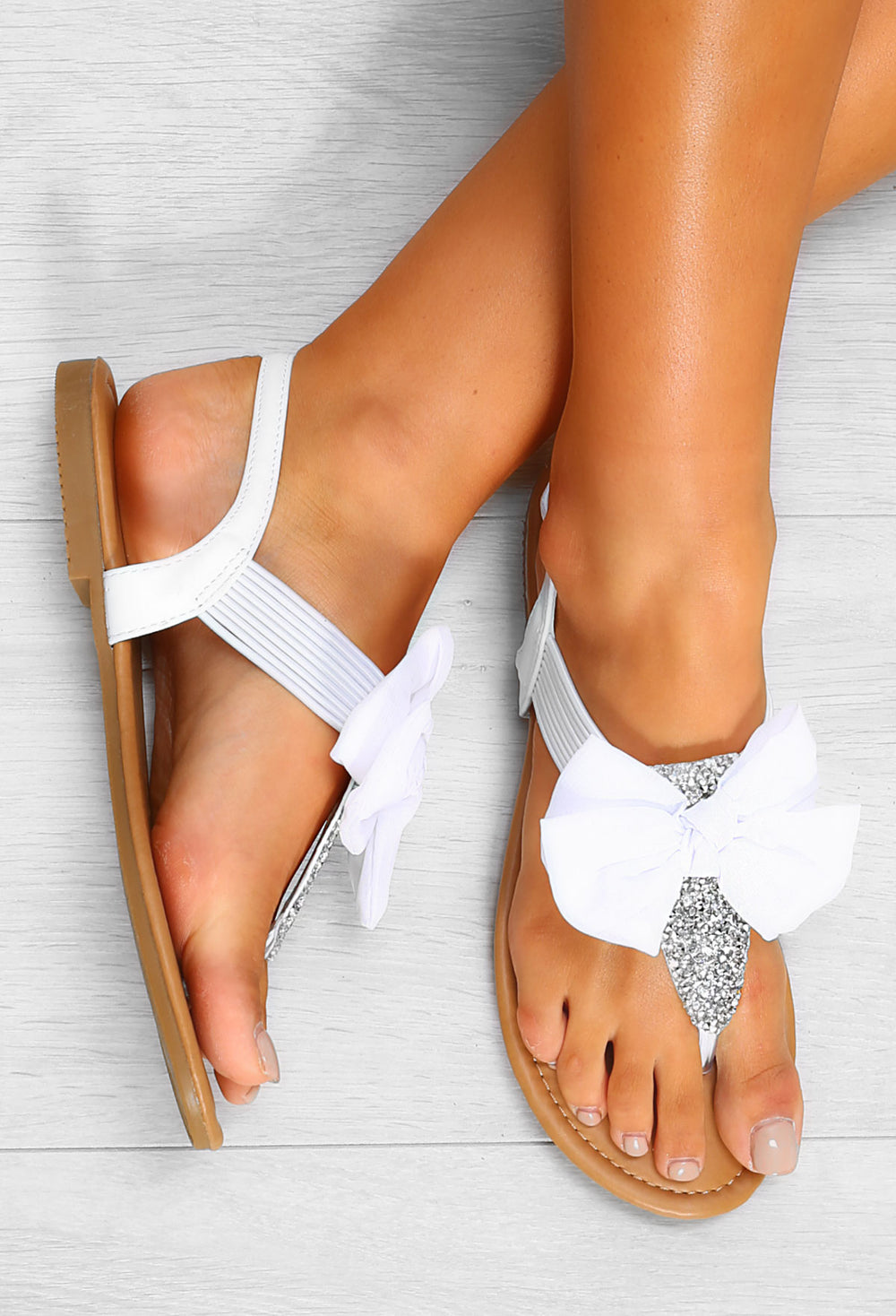 Boulevard Bow Open Toe Summer Shoes White PU