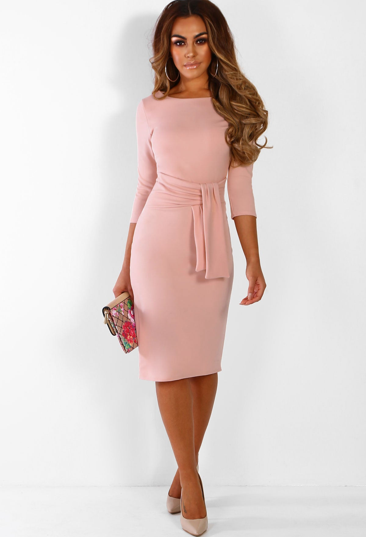 f02f37045d7fe Fool For You Pink Belted Bodycon Midi Dress – Pink Boutique UK