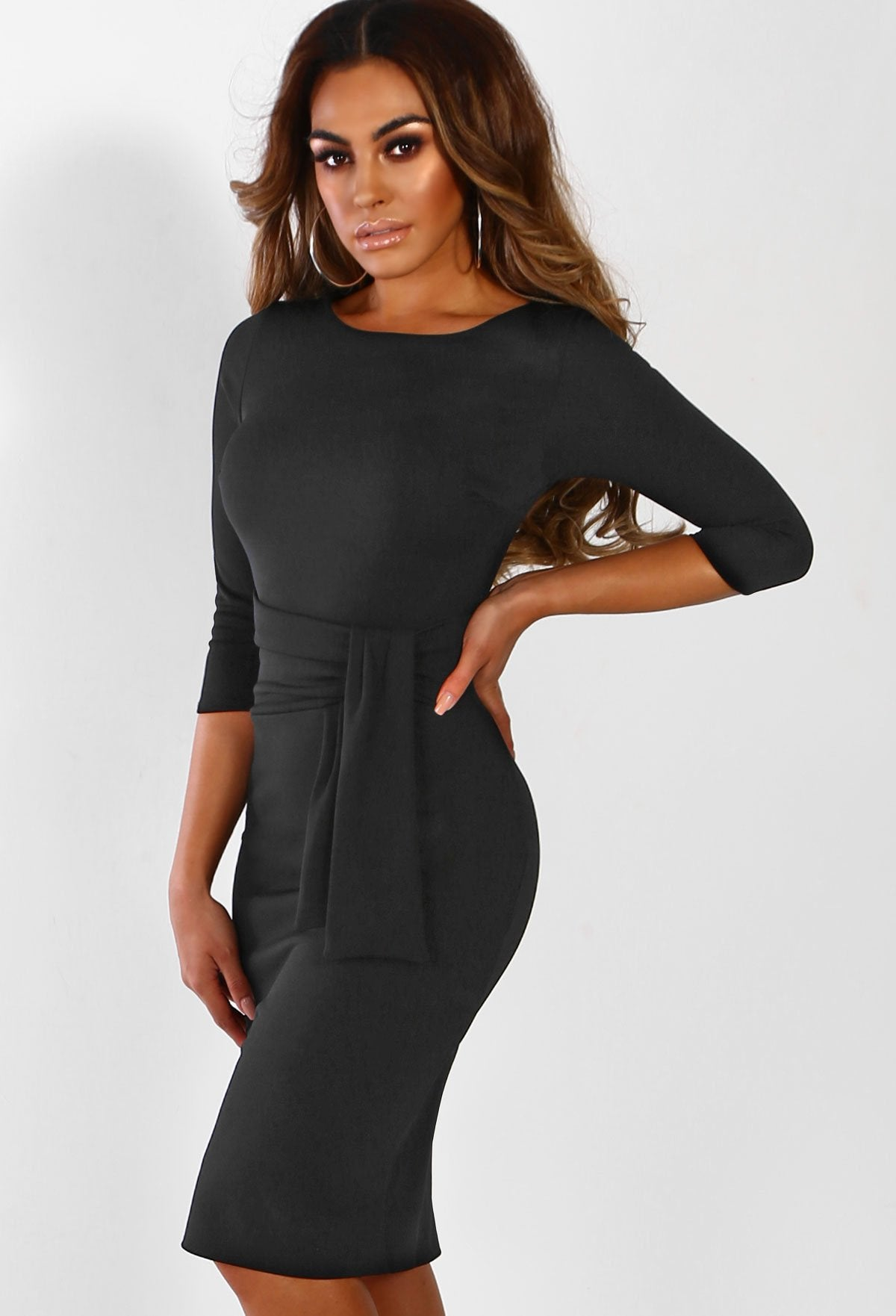 7f4fab916c23e Fool For You Black Belted Bodycon Midi Dress – Pink Boutique UK