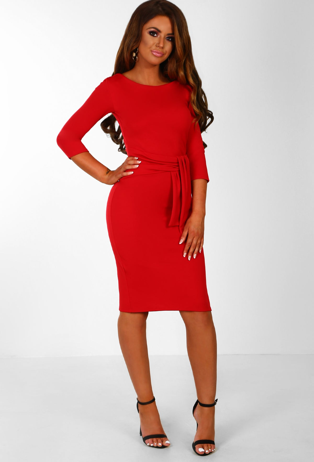 c3656c5e0bfb9 Fool For You Red Belted Bodycon Midi Dress – Pink Boutique UK