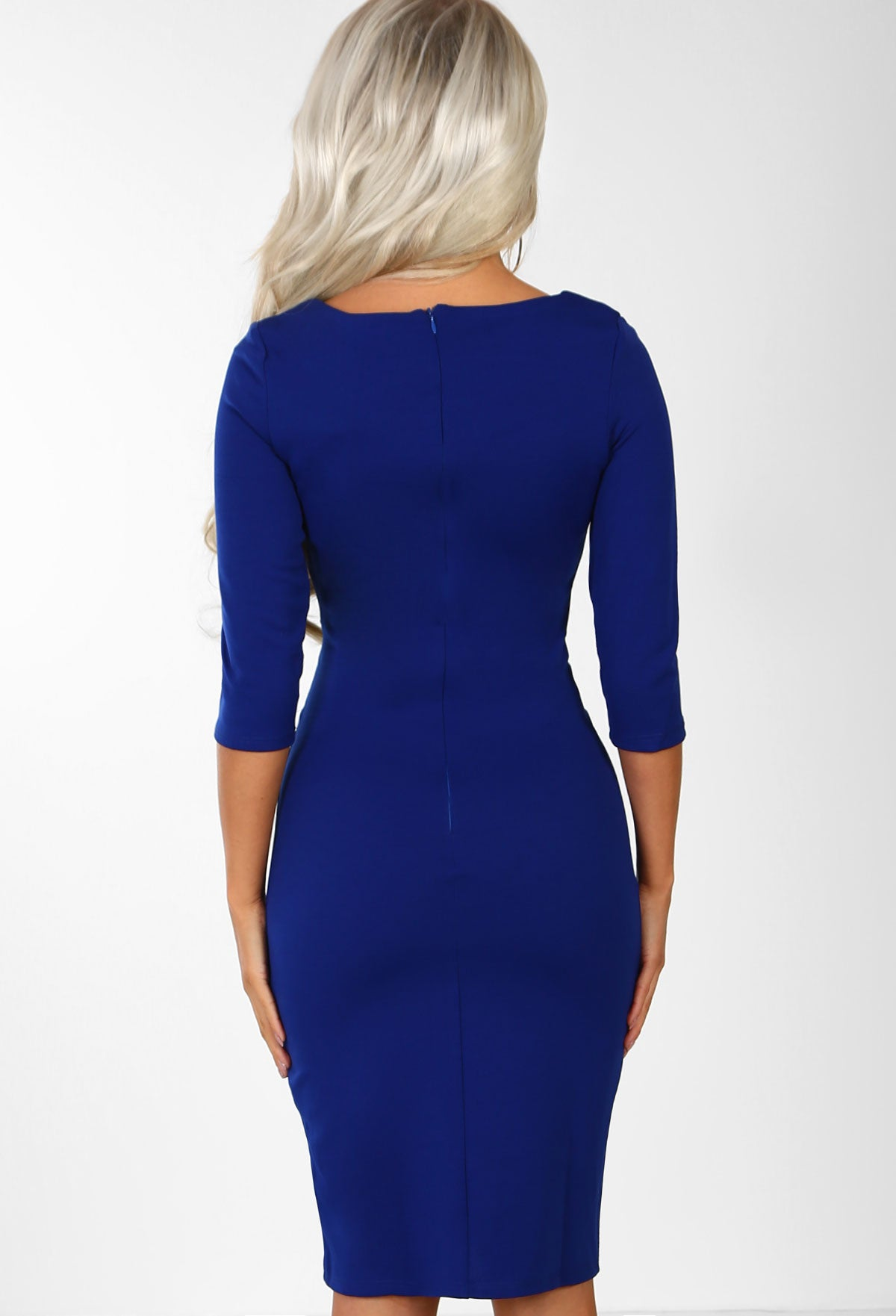 0d9a819f0eeff Fool For You Royal Blue Belted Bodycon Midi Dress – Pink Boutique UK