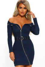 Indigo Denim Bardot Zip Front Mini Dress - Front
