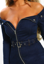 Indigo Denim Bardot Zip Front Mini Dress - Close up detail